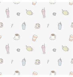 Seamless pattern of Coffee shop objects vector image