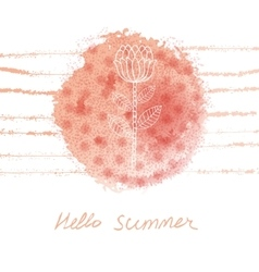 Hand drawn watercolor floral summer vector