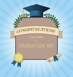 Graduation invitation postcard or certificate vector
