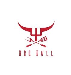 Bull bbq rustic concept design template vector