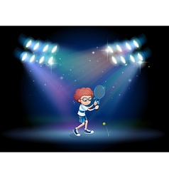 A boy playing tennis with spotlights vector