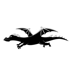 Cartoon dragon silhouette vector image