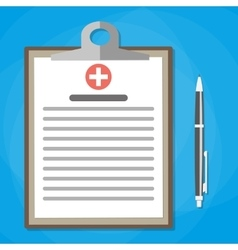 Clipboard and pen medical report analysis vector image vector image
