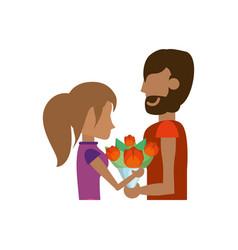 Couple bouquet roses romantic image vector