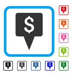 dollar map pointer framed icon vector image