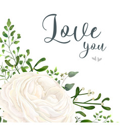 Floral card design with garden white ranunculus vector