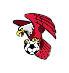 Flying bald eagle grab soccer ball vector