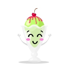 Funny cartoon cute ice cream Kawaii muzzle vector image vector image