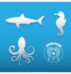 Graphic set of various sea animals contours vector image