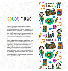 Hand drawn music border music sketch colorful vector
