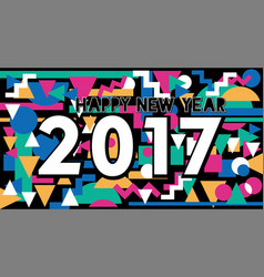 Happy new year 2017 vintage lettering design vector