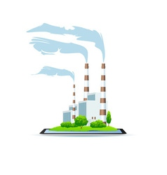 Icon power plant on tablet vector