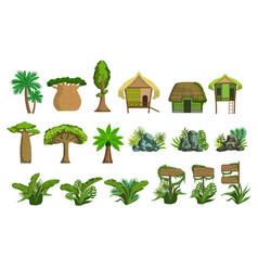 Jungle landscape elements set vector