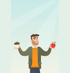 Man choosing between apple and cupcake vector