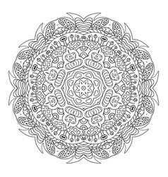 Mandala doodle drawing round coloring vector
