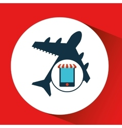 Mobile phone e-commerce and travel airport vector