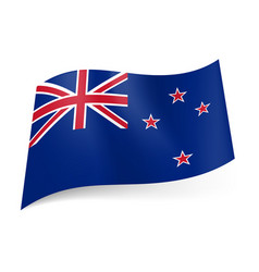 national flag of new zealand union jack and four vector image