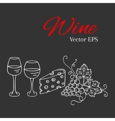 Red wine glass and white wine glass grapes vector