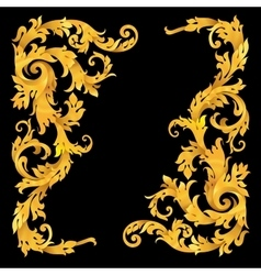 Rich gold baroque curly ornamental corners vector image