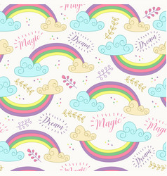 seamless pattern with cute rainbow vector image vector image