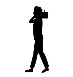 Silhouette guy radio music walking vector