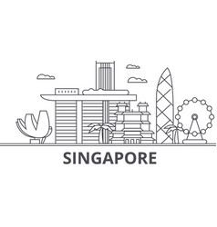 singapore architecture line skyline vector image