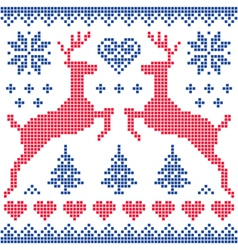 Winter Christmas red and navy pattern card vector image vector image