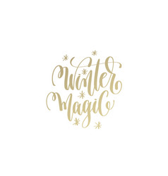 winter magic golden hand lettering winter holidays vector image vector image