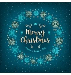 Christmas card holiday xmas wreath gold vector