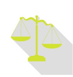 Scales of justice sign pear icon with flat style vector