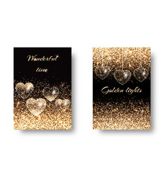 Set of sparkling background with hearts vector