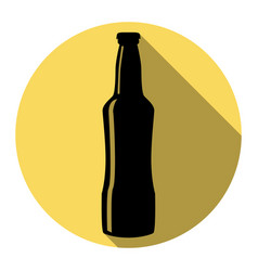 Beer bottle sign  flat black icon with vector