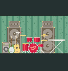 Musical instruments flat vector