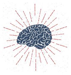 Hand drawn brain with vintage sunburst vector