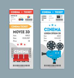 Cartoon cinema tickets vertical set vector