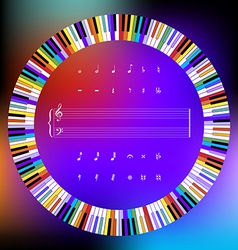 Colored piano keys and music symbols vector