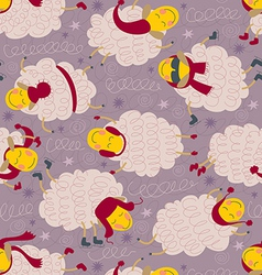 Seamless pattern with sheeps in winter clothes vector