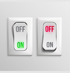 3d toggle switch white switches with on vector