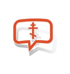Orthodox cross message sticker orange vector