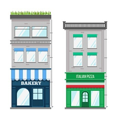 Multi-storey building with roof terrace and shop vector
