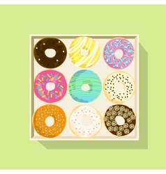 Donut icon set flat vector