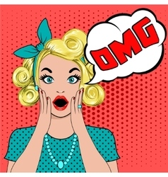 Omg bubble pop art surprised blond woman vector