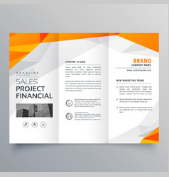 Abstract orange trifold brochure design business vector