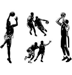 basketball sketch set vector image vector image