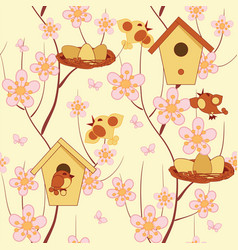 birds and flower vector image