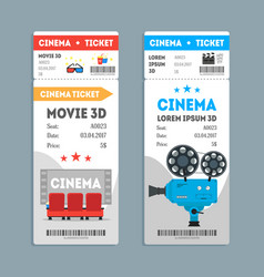 cartoon cinema tickets vertical set vector image vector image