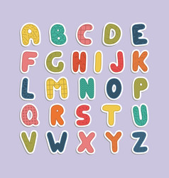 cartoon funny font color english baby alphabet vector image vector image
