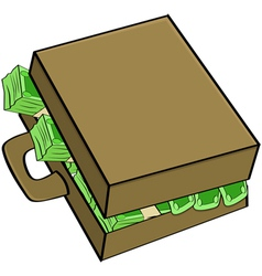 Cash in suitcase vector image vector image