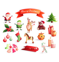 christmas cartoon icons set vector image vector image