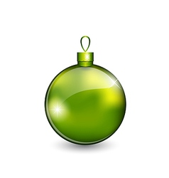 Christmas green ball isolated on white background vector image